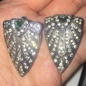 CZ Vintage style clip on Earrings.
